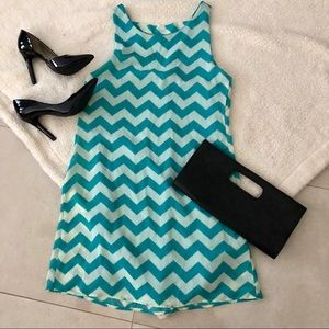 Chevron teal short dress